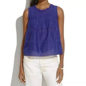madewell / purple sheer momento lace tank top